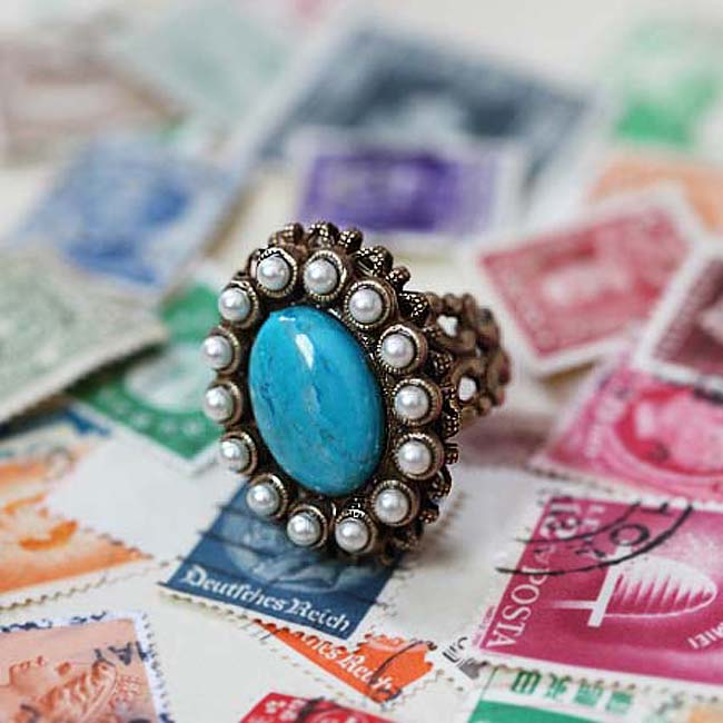 Turquoise & Pearl Oval Ring R136