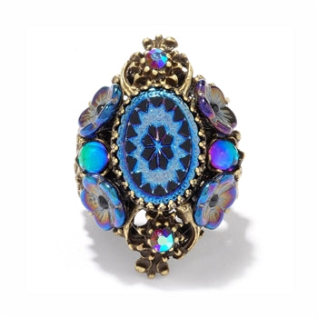 Vintage Peacock Oval Ring - sweetromanceonlinejewelry