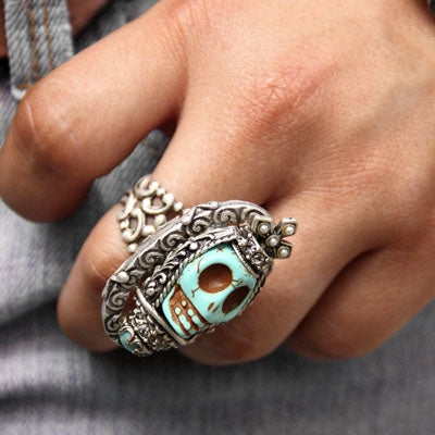 Sugar Skull Statement Ring - sweetromanceonlinejewelry