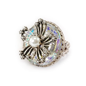 Flower Queen Crystal Ring OL_R314-CR - sweetromanceonlinejewelry