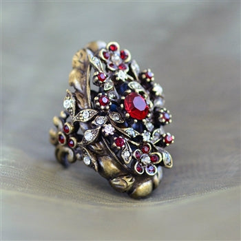 Victorian Garnet Crystal Ring - sweetromanceonlinejewelry