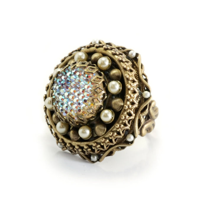 Crystal Medallion Ring OL_R404 - sweetromanceonlinejewelry