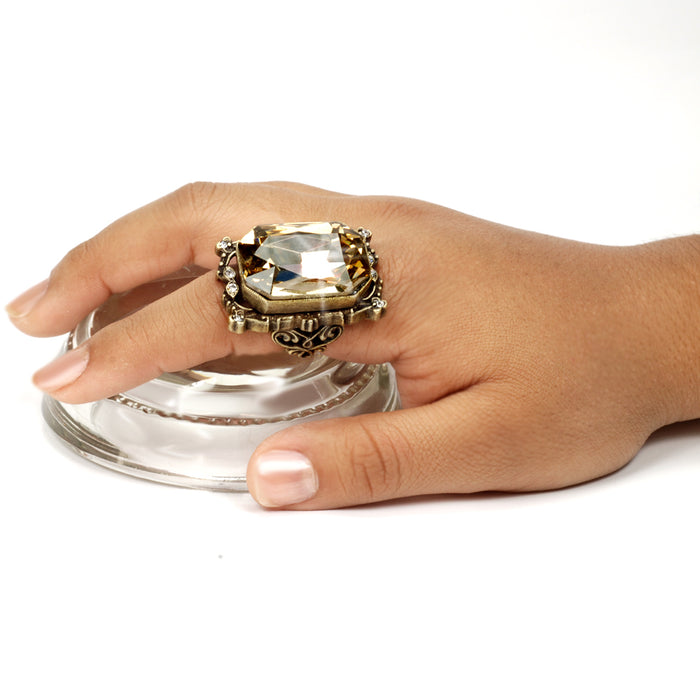 Grand Octagon Crystal Ring OL_R426