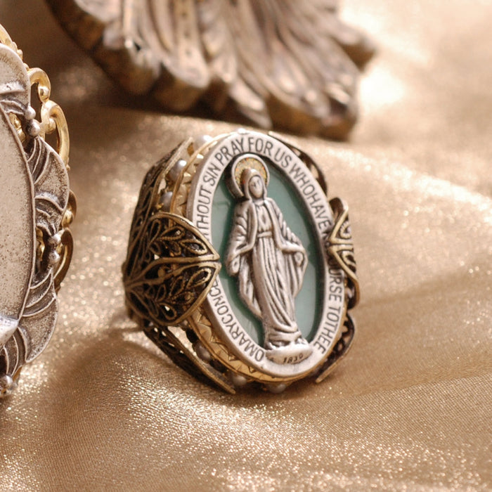 Queen of Miracles Our Lady Virgin Mary Madonna Ring OL_R900 - sweetromanceonlinejewelry