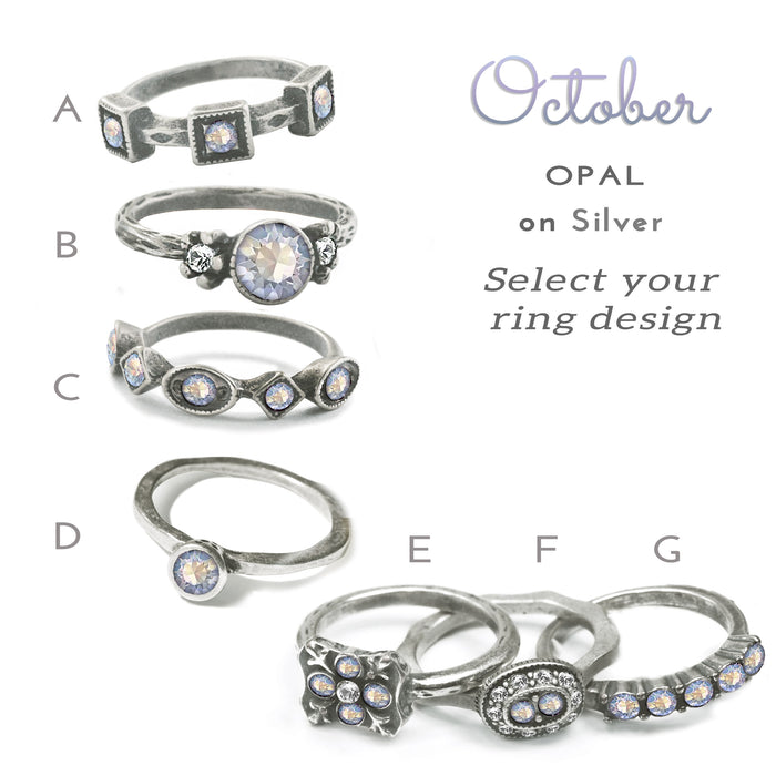 Stackable October Birthstone Ring - Opal Crystal