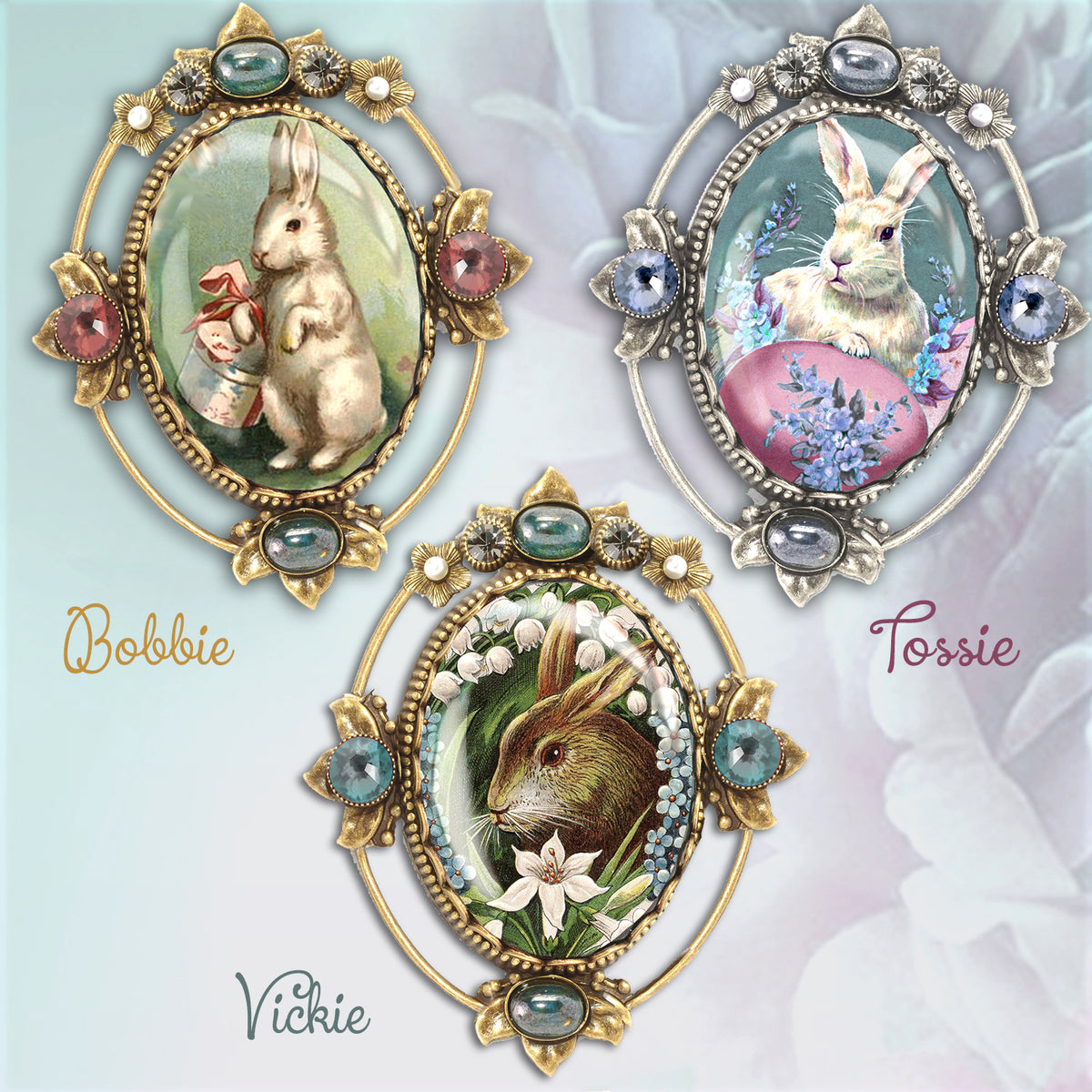 Set of 3 Vintage Easter Bunnies Pins P330-SET
