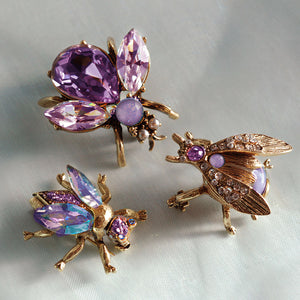 Set of 3 Crystal Bee Pins in Lilac, Lavender and Orchid P5280