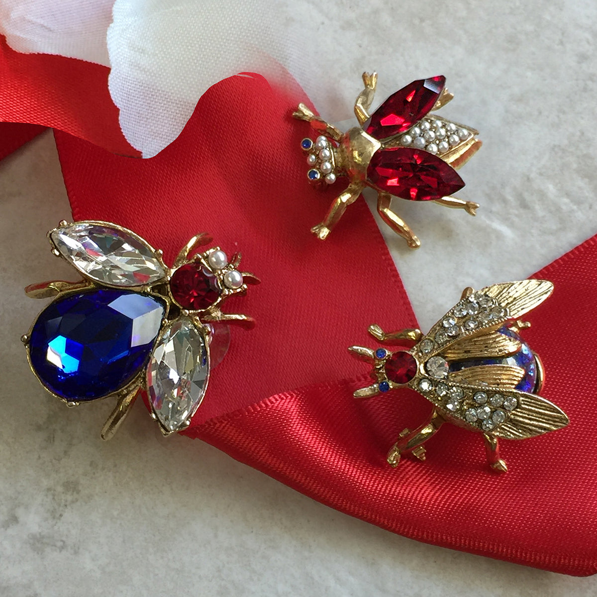 Red White Blue Crystal Bee Pin Set of 3