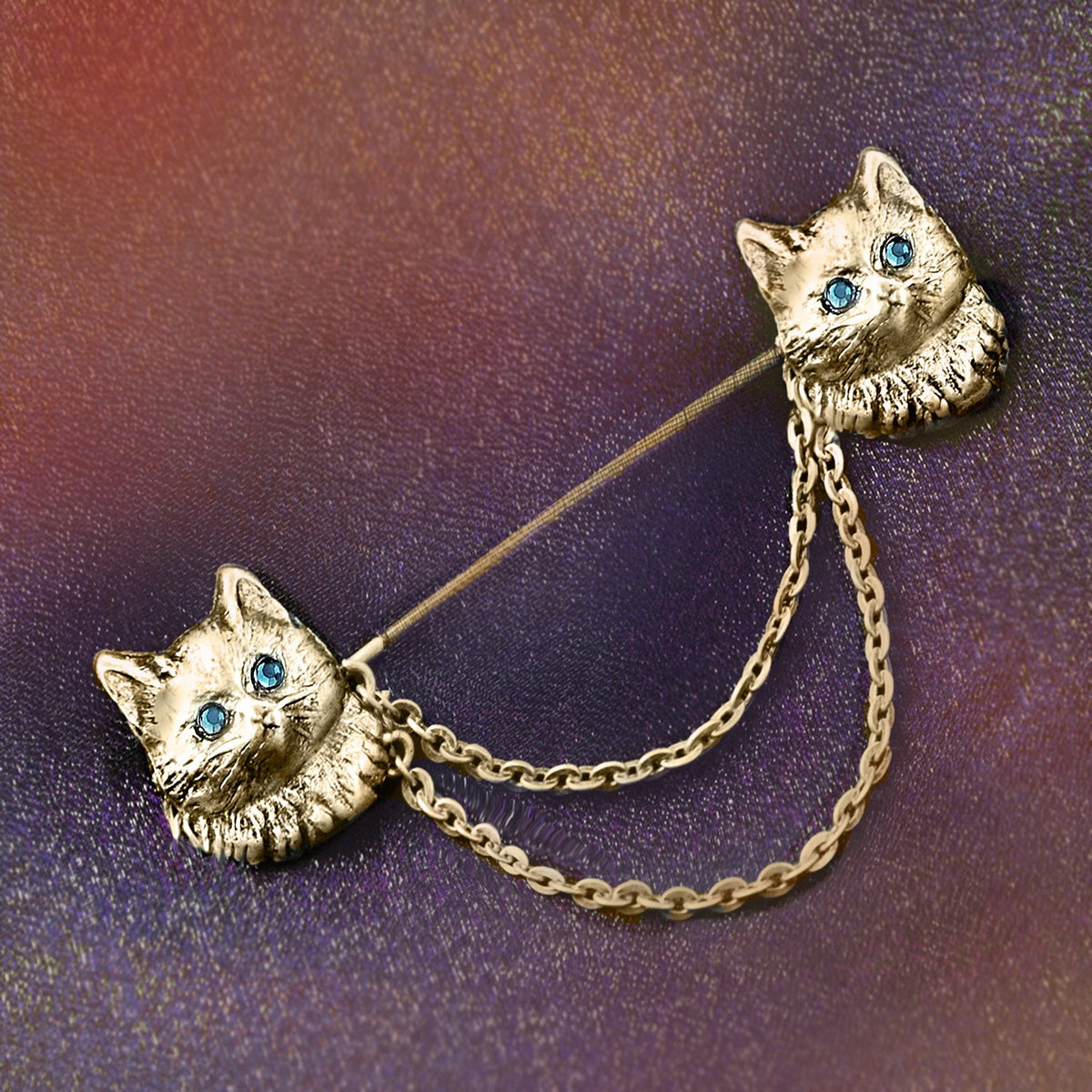 Twin Kittens Pin P680 - sweetromanceonlinejewelry