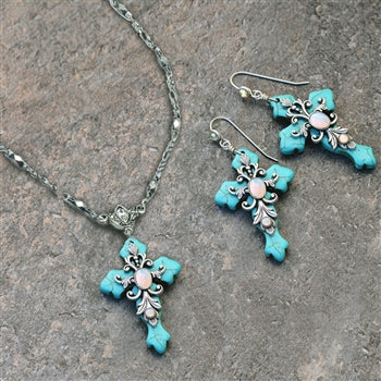 Turquoise Cross and Opal Stone Necklace and Earrings Set - sweetromanceonlinejewelry
