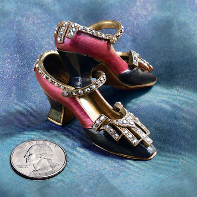 Art Deco Shoe Miniature Marcasite Slipper SH112