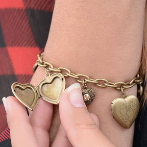 Heart Locket Charm Bracelet