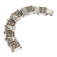 Load image into Gallery viewer, Art Deco Filigree Link Crystal Vintage Bracelet