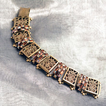 Load image into Gallery viewer, Art Deco Filigree Link Crystal Vintage Bracelet BR1137