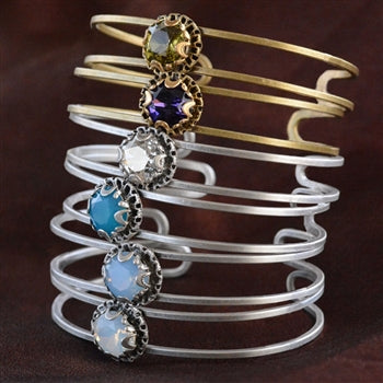 Crystal Dot Stacking Cuff Bracelet