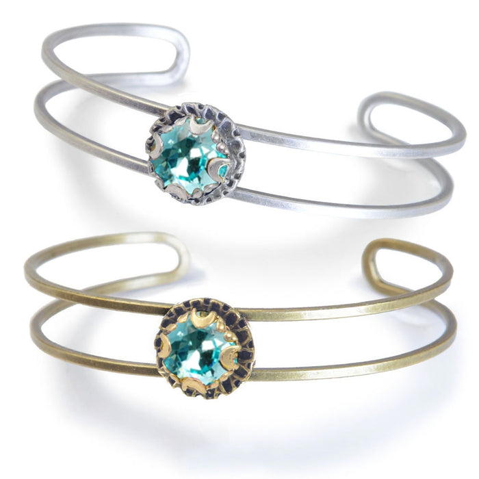 Crystal Dot Turquoise Stacking Cuff Bracelet