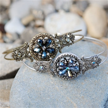 Rosarita Beach Ocean Flower Bangle Bracelet