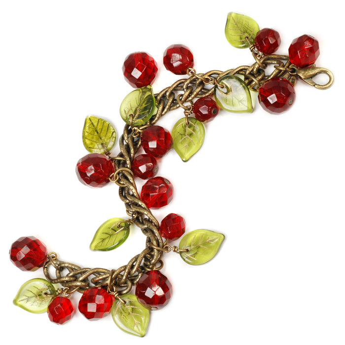 Retro Glass Cherries Statement Bracelet