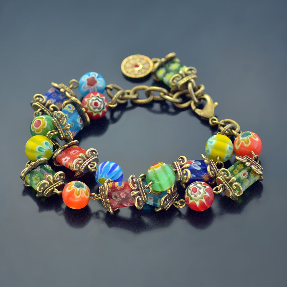 Millefiori Glass Rainbow Two Strand Bracelet