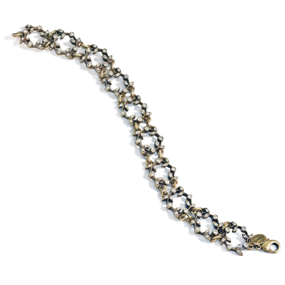 Vintage Leaf Crown Crystal Bracelet