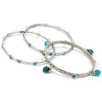 Set of 3 Crystal Bangle Bracelets