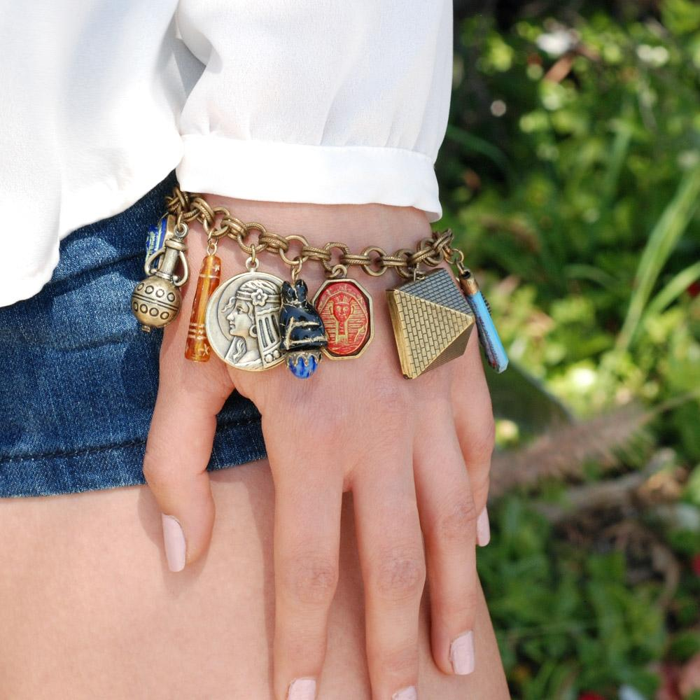 King Tut's Ancient Egyptian Charm Bracelet - sweetromanceonlinejewelry