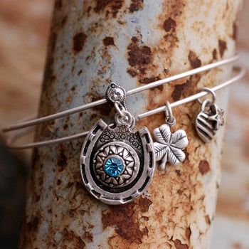 Lucky Horseshoe Birthstone Bangle