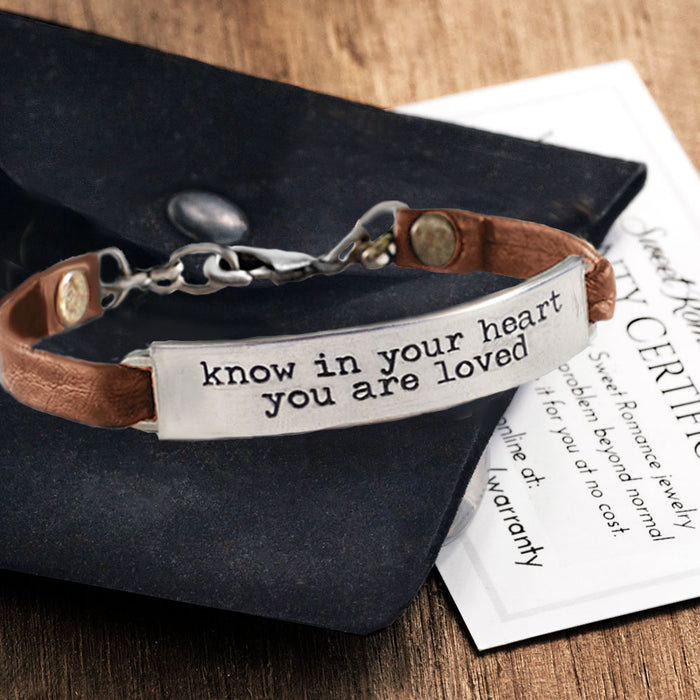 Know in your heart you are loved Inspirational Message Bracelet BR407
