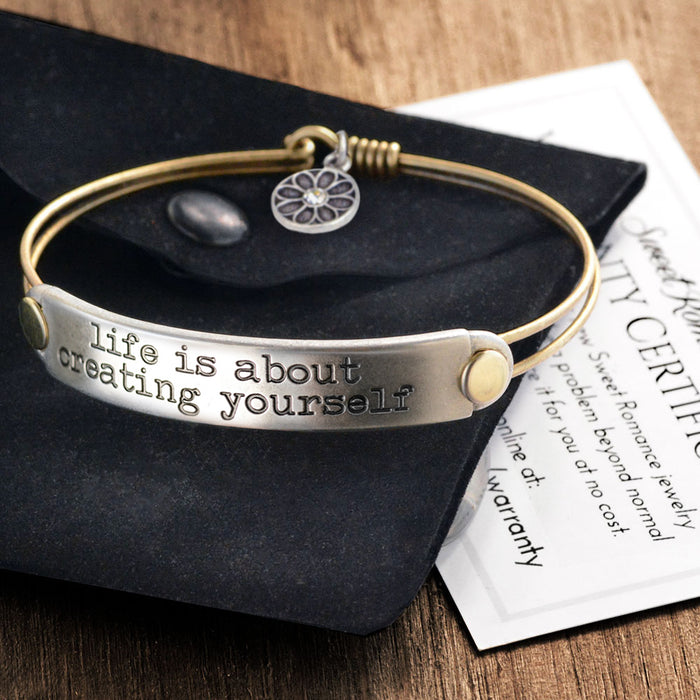 Life is about creating yourself Inspirational Message Bracelet BR410