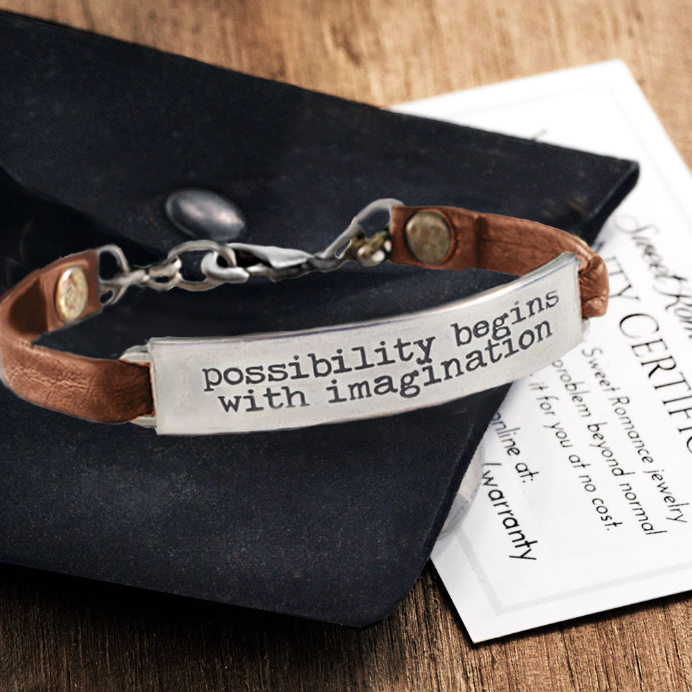 Possibility begins with imagination Inspirational Message Bracelet BR415