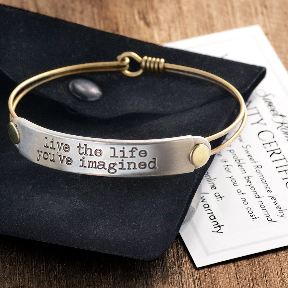 Live the life you've imagined Inspirational Message Bracelet BR417