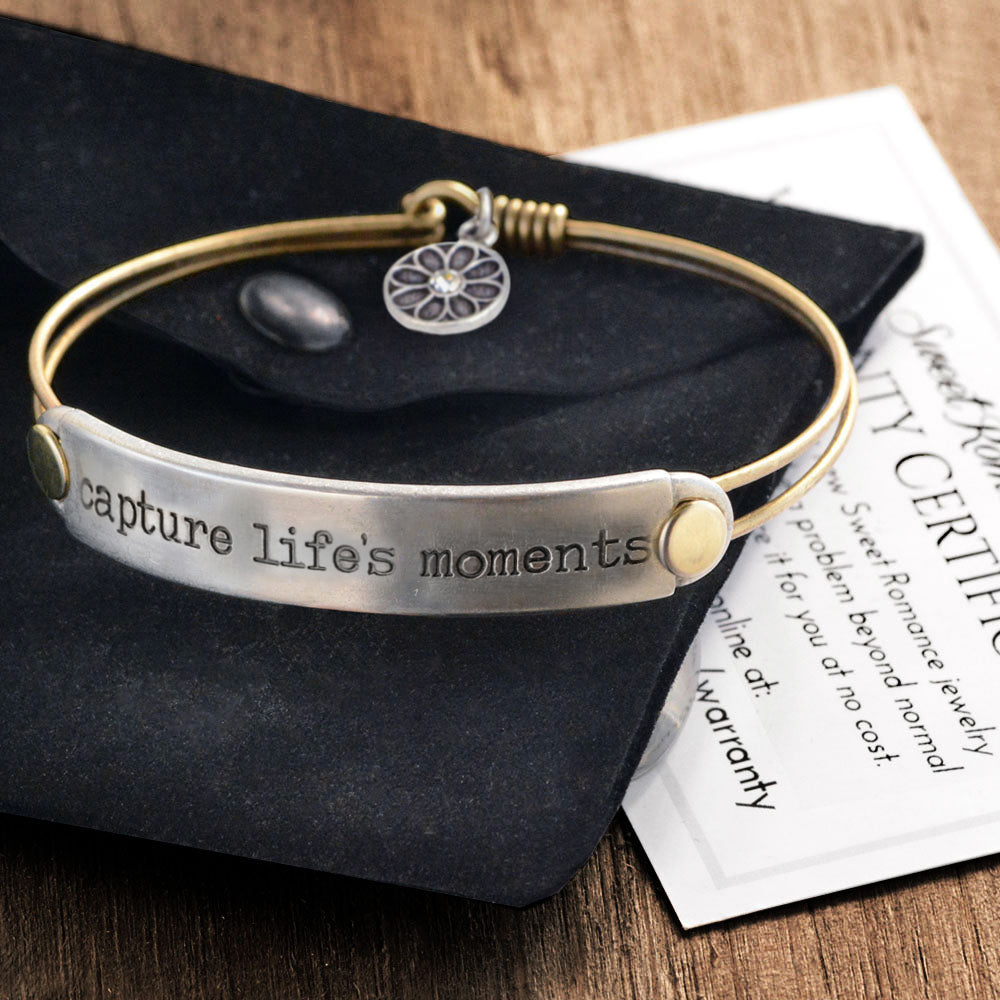Capture life's moments Inspirational Message Bracelet BR418