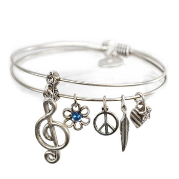Melody Music Note Bangle Bracelet BR419 - sweetromanceonlinejewelry