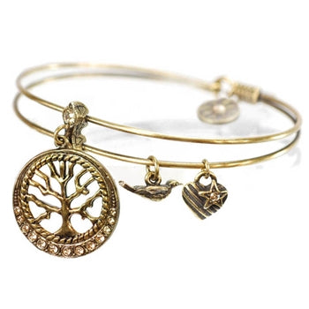 Wisdom (Tree of Life) Bangle Bracelet BR420 - sweetromanceonlinejewelry