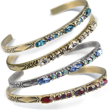 Crystal Bar Thin Cuff Stacking Bracelet BR448 - sweetromanceonlinejewelry