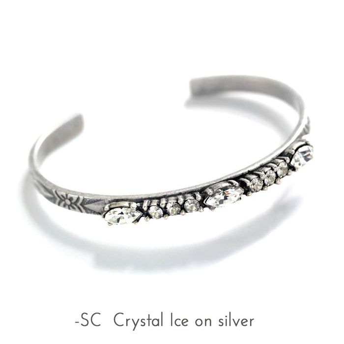 Crystal Bar Thin Cuff Stacking Bracelet