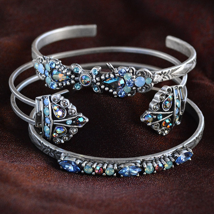 Crystal Bar Cuff Bracelets - SET OF 3