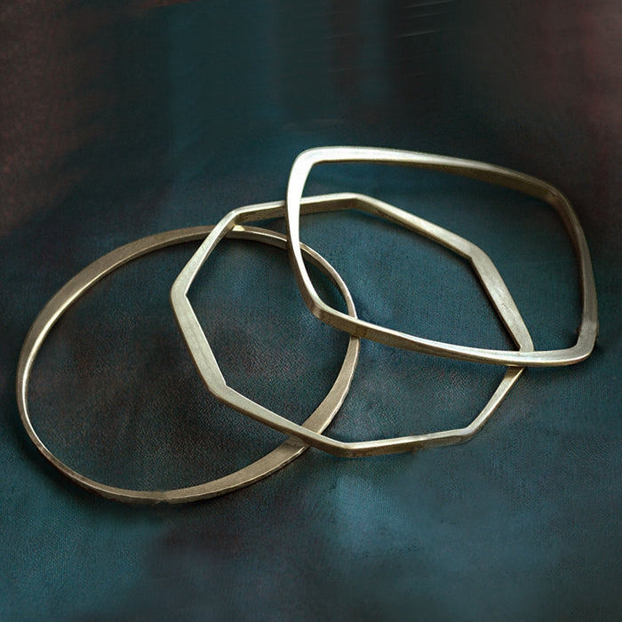 Hammered Geometric Bangle Bracelets
