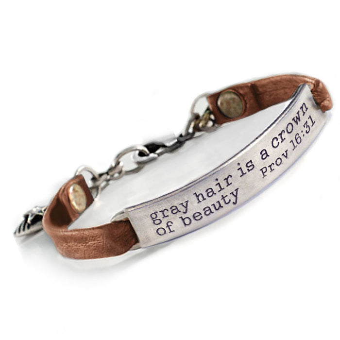 Gray hair is a crown of beauty Bible Verse Bracelet BR501