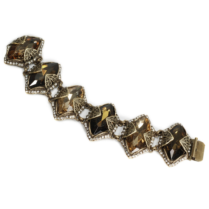 Chocolate Marquis Jewel Navette Crystal Bracelet BR514-CH