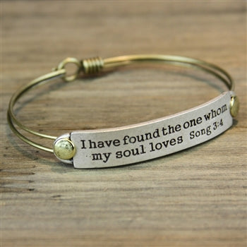 I Have Found the One Whom My Soul Loves Song 3:4 Inspirational Bible Verse Bracelet