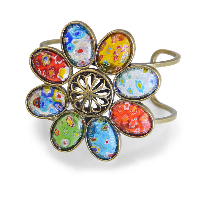 Millefiori Glass Candy Flower Cuff Bracelet BR524