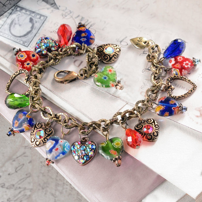 Candy Glass Hearts Charm Bracelet BR583 - sweetromanceonlinejewelry