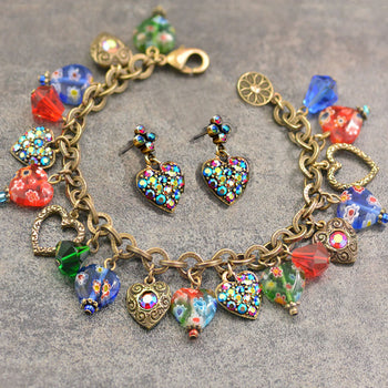 Millefiori Glass Hearts Charm Bracelet and Earrings SET