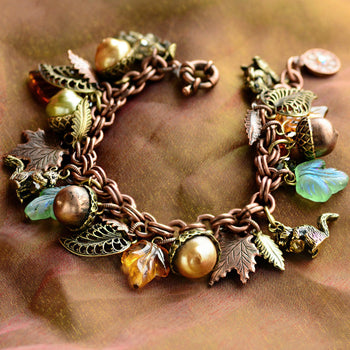 Squirrel's Harvest Charm Bracelet BR648 - sweetromanceonlinejewelry