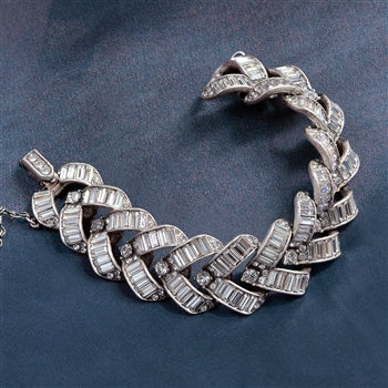 Art Deco Vee Baguette Crystal Wedding Bracelet