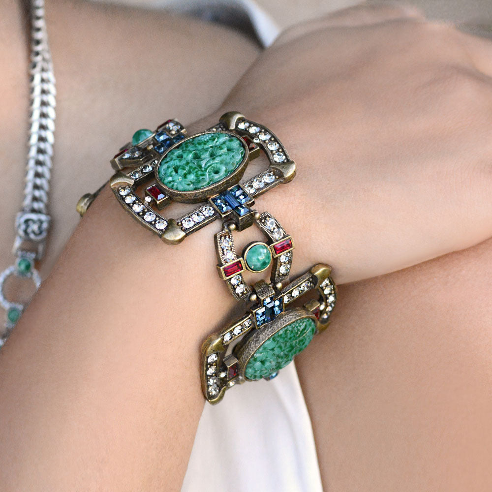 Art Deco Asian Vintage Jade Glass Bracelet BR9522