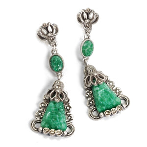 Art Deco Vintage Green Jade Glass Triangle Earrings E1095