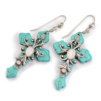 Turquoise Crosses Earrings E1098 - sweetromanceonlinejewelry