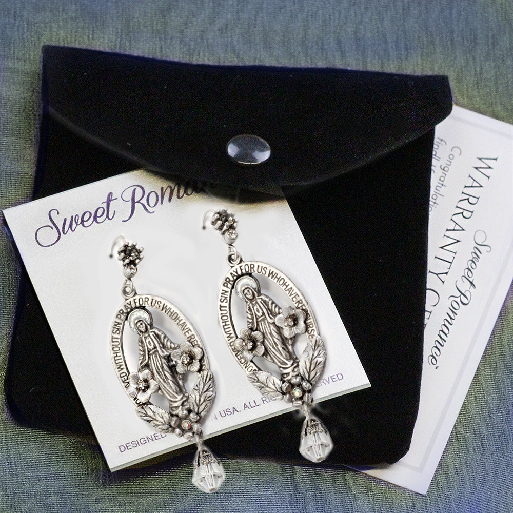 Madonna Mary Miraculous Medal Silver Earrings E1116 - sweetromanceonlinejewelry